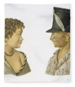 Inhabitants Of New Zealand, 1826 Fleece Blanket