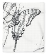 Inked Swallowtail Fleece Blanket