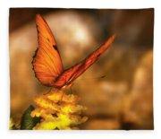 Insect - Butterfly - Just A Bit Of Orange  Fleece Blanket