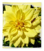 Insect On A Dahlia Fleece Blanket