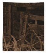 Inside The Barn In Sepia Fleece Blanket