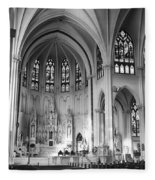 Inside The Cathedral Basilica Of The Immaculate Conception 1 Bw Fleece Blanket
