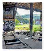 Inside The Old Train Roundhouse At Bayshore Near San Francisco And The Cow Palace Iv Fleece Blanket