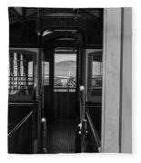 Inside Trolley 28 Black And White Fleece Blanket