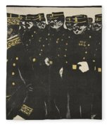 Inspection Of A Line Of Police Fleece Blanket