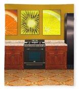 Interior Design Idea - Sweet Orange - Kiwi - Lemon Fleece Blanket