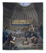 Interior Of A Kalmuk Yurt, 1812-13 Fleece Blanket