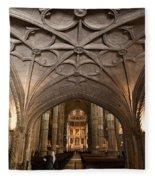 Interior Of Jeronimos Monastery Church In Lisbon Fleece Blanket
