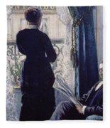Interior Woman At The Window Fleece Blanket