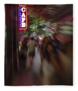 International Cafe Neon Sign And Street Scene At Night Santa Monica Ca Portrait Fleece Blanket
