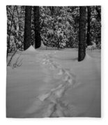 Into The Woods Pisgah Forest Black And White Fleece Blanket