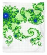 Intricate Green Blue Fractal Based On Julia Set Fleece Blanket