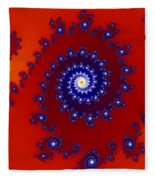 Intricate Red Blue Fractal Based On Julia Set Fleece Blanket