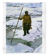 Inuit Seal Hunter Barrow Alaska July 1969 Fleece Blanket