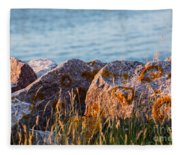 Inverness Beach Rocks  Fleece Blanket