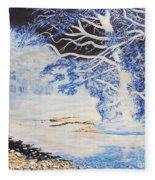 Inverted Lights At Trawscoed Aberystwyth Welsh Landscape Abstract Art Fleece Blanket