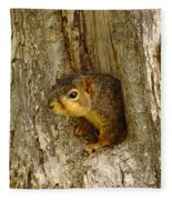 iPhone Squirrel In A Hole Fleece Blanket