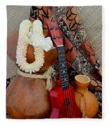 Ipu Heke And Red Ukulele With White Satin Lei Fleece Blanket