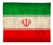 Iran Flag Vintage Distressed Finish Fleece Blanket
