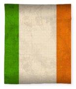 Ireland Flag Vintage Distressed Finish Fleece Blanket