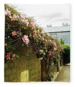 Ireland Floral Vine-topped Brick Wall Fleece Blanket