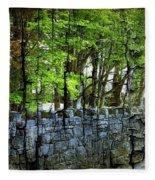 Ireland Stone Wall And Trees Fleece Blanket