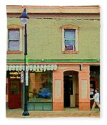Irenes's Pub And Ernesto's Barber Shop Bank St Shops In The Glebe Paintings Of Ottawa Cspandau  Fleece Blanket