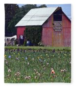 Iris Field And Barn Fleece Blanket