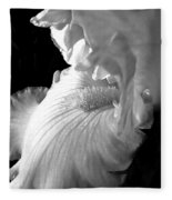 Iris Flower In Black And White Fleece Blanket
