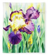 Iris Flowers Garden Fleece Blanket
