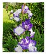 Iris Flowers Fleece Blanket