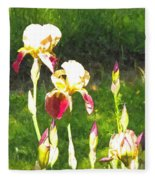 Iris In Watercolor Fleece Blanket
