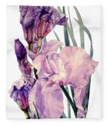 Watercolor Of An Elegant Tall Bearded Iris In Pink And Purple I Call Iris Joan Sutherland Fleece Blanket