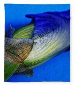 Iris On Blue Fleece Blanket