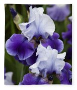 Iris Purple And White Fine Art Floral Photography Print As A Gift Fleece Blanket