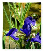 Iris With Frog Fleece Blanket