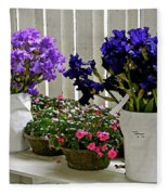 Irises And Impatiens Fleece Blanket