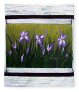 Irises And Old Boards - Weathered Wood Fleece Blanket