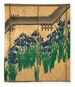 Irises At Yatsuhashi. Eight Bridges Fleece Blanket