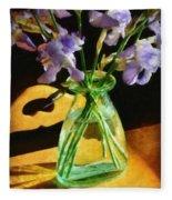 Irises In Morning Light Fleece Blanket