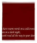 Irish Blessing - Full Moon - Greeting  - Red Fleece Blanket