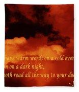 Irish Blessing On Orange Clouds And Full Moon Fleece Blanket