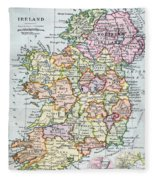 Irish Free State And Northern Ireland From Bacon S Excelsior Atlas Of The World Fleece Blanket
