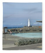 Irish Sea Lighthouse On Pier Fleece Blanket