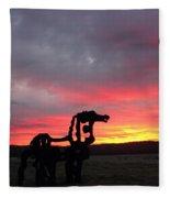 Iron Horse Waiting Fleece Blanket