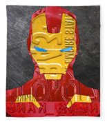 Iron Man Superhero Vintage Recycled License Plate Art Portrait Fleece Blanket