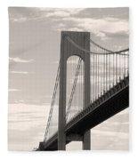 Island Bridge Bw Fleece Blanket