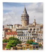 Istanbul Cityscape And Galata Tower Fleece Blanket