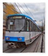 Istanbul Tram In Motion Fleece Blanket