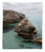 It Rocks 2 - Close To Son Bou Beach And San Tomas Beach Menorca Scupted Rocks And Turquoise Water Fleece Blanket